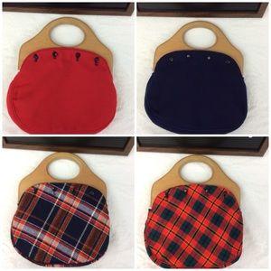 Wood Handle Bermuda Bag Purse with 4 Cloth Covers